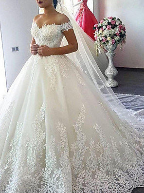 cheap Bridesmaid Dresses-A-Line Wedding Dresses Off Shoulder Court Train Lace Cap Sleeve with Lace Insert 2020