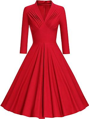 cheap Women's Dresses-Women's Swing Dress Midi Dress - 3/4 Length Sleeve Solid Colored Spring & Summer Deep V 1950s 2020 Black Blue Red S M L XL XXL