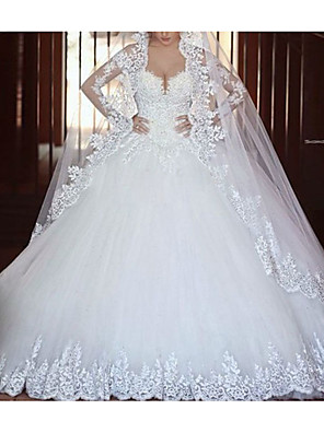 cheap Shirts-A-Line Wedding Dresses V Neck Court Train Lace Tulle Long Sleeve Illusion Sleeve with Lace Insert 2020