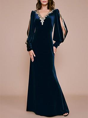 cheap Bridesmaid Dresses-Sheath / Column Mother of the Bride Dress Elegant & Luxurious Plunging Neck Floor Length Knee Length Velvet Long Sleeve with Appliques 2020