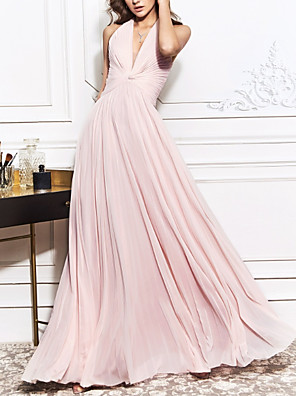 cheap Evening Dresses-A-Line Open Back Prom Formal Evening Dress Halter Neck Sleeveless Sweep / Brush Train Chiffon with Ruched 2020