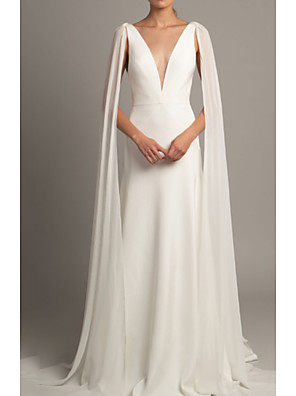 cheap Wedding Dresses-A-Line Wedding Dresses V Neck Court Train Tulle Stretch Satin Regular Straps Cape with Ruched 2020