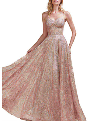 cheap Evening Dresses-A-Line Open Back Prom Formal Evening Dress Sweetheart Neckline Sleeveless Floor Length Sequined with Pleats Sequin 2020