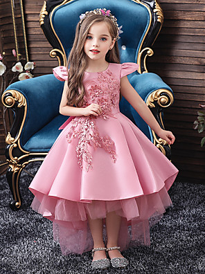 cheap Flower Girl Dresses-Princess / Ball Gown Asymmetrical Pageant Flower Girl Dresses - Poly&Cotton Blend Short Sleeve Jewel Neck with Sash / Ribbon / Bow(s) / Embroidery