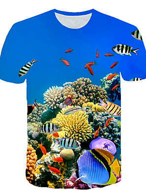 cheap Boys' Tops-Kids Toddler Boys' Active Street chic Fantastic Beasts Print Print Short Sleeve Tee Blue