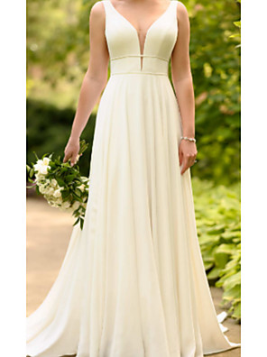 cheap Prom Dresses-A-Line Wedding Dresses V Neck Sweep / Brush Train Charmeuse Spaghetti Strap with Draping 2020