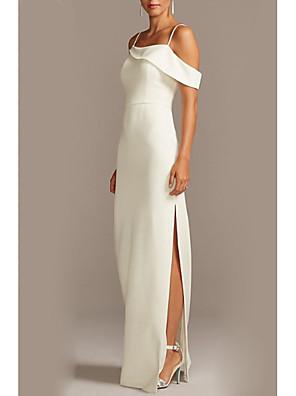cheap Bridesmaid Dresses-Sheath / Column Spaghetti Strap Floor Length Jersey Bridesmaid Dress with Split Front / Open Back