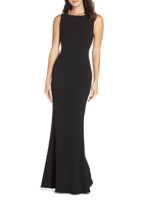 cheap Evening Dresses-Sheath / Column Beautiful Back Black Wedding Guest Formal Evening Dress Jewel Neck Sleeveless Floor Length Jersey with Pleats 2020