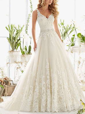 cheap Wedding Dresses-A-Line Wedding Dresses V Neck Court Train Lace Regular Straps with Crystals Beading Appliques 2020