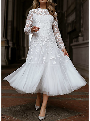 cheap Prom Dresses-A-Line Floral White Engagement Cocktail Party Dress Illusion Neck Long Sleeve Tea Length Lace Tulle with Pleats Appliques 2020