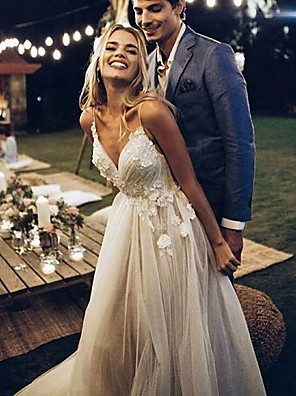 cheap Prom Dresses-A-Line Wedding Dresses V Neck Sweep / Brush Train Lace Tulle Spaghetti Strap Simple Backless with Lace 2020