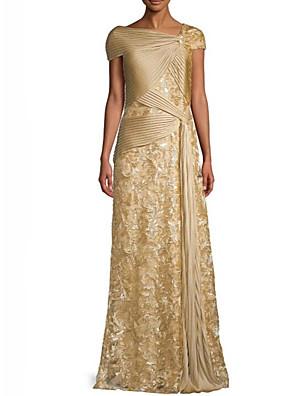 cheap Evening Dresses-A-Line Elegant Formal Evening Dress V Neck Short Sleeve Floor Length Matte Satin with Sequin Draping 2020