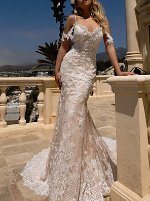 cheap Wedding Dresses-Mermaid / Trumpet Wedding Dresses V Neck Court Train Lace Spaghetti Strap with Lace Insert 2020