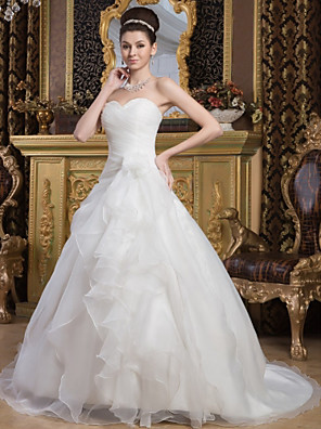 cheap Wedding Dresses-A-Line Wedding Dresses Sweetheart Neckline Court Train Organza Satin Strapless with Ruched Cascading Ruffles 2020