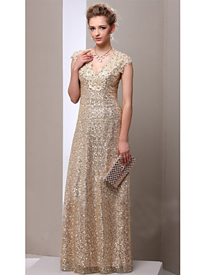 cheap Prom Dresses-Sheath / Column Mother of the Bride Dress Sparkle & Shine V Neck Floor Length Sequined Sleeveless with Appliques 2020