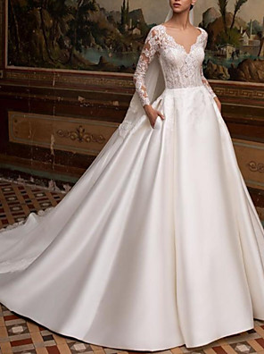 cheap Wedding Dresses-A-Line Wedding Dresses V Neck Court Train Lace Satin Long Sleeve Country Backless Illusion Sleeve with Buttons Lace Insert 2020