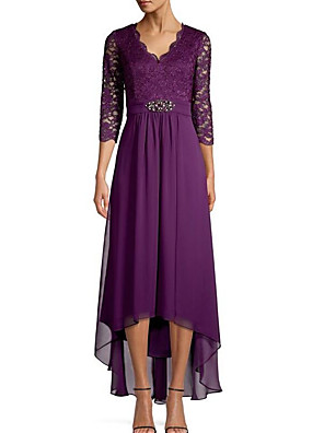 cheap Special Occasion Dresses-A-Line Elegant Holiday Cocktail Party Dress V Neck 3/4 Length Sleeve Ankle Length Chiffon Lace with Beading Sequin 2020