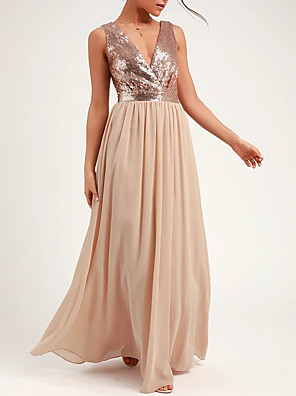 cheap Bridesmaid Dresses-A-Line Plunging Neck Floor Length Chiffon / Sequined Bridesmaid Dress with Sequin / Pleats