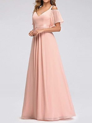 cheap Cocktail Dresses-A-Line V Neck Floor Length Chiffon Bridesmaid Dress with Pleats