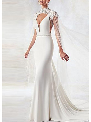 cheap Evening Dresses-Sheath / Column Wedding Dresses High Neck Watteau Train Satin Tulle Short Sleeve Cape with Beading Embroidery Appliques 2020