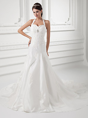 cheap Wedding Dresses-A-Line Wedding Dresses Halter Neck Court Train Taffeta Spaghetti Strap Simple Vintage Plus Size with Ruched Beading Appliques 2020