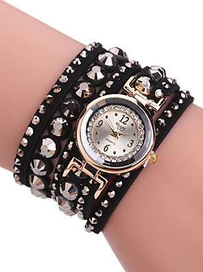 cheap Quartz Watches-Women's Bracelet Watch Quartz Stylish Glitter Casual Casual Watch PU Leather Black / Blue Analog - Black Blue One Year Battery Life / Imitation Diamond