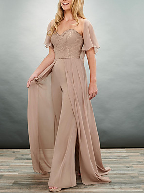 cheap Bridesmaid Dresses-Pantsuit / Jumpsuit Mother of the Bride Dress Elegant & Luxurious Sweetheart Neckline Sweep / Brush Train Chiffon Lace Short Sleeve with Pleats Appliques 2020