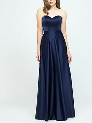 cheap Bridesmaid Dresses-A-Line Sweetheart Neckline Floor Length Satin Bridesmaid Dress with Pleats