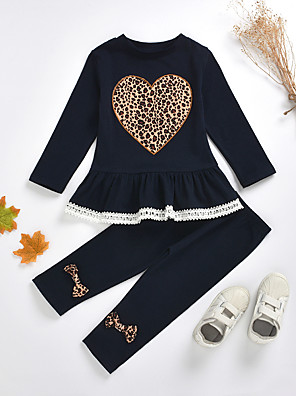cheap Baby Girls' One-Piece-Kids Toddler Girls' Basic Chinoiserie Daily Wear Festival Leopard Solid Colored Bow Print Long Sleeve Regular Regular Clothing Set Navy Blue