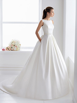 cheap Wedding Dresses-Ball Gown Wedding Dresses Bateau Neck Court Train Lace Polyester Regular Straps Elegant with Appliques 2020