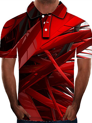 cheap Men's Polos-Men's Daily Plus Size Polo 3D Graphic Print Short Sleeve Slim Tops Streetwear Exaggerated Shirt Collar Red