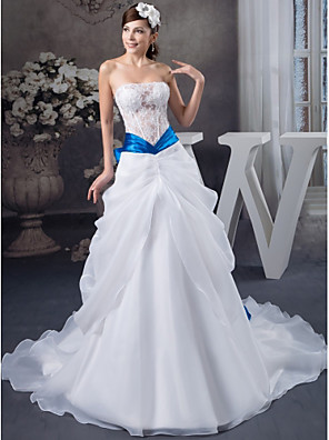 cheap Evening Dresses-A-Line Wedding Dresses Strapless Chapel Train Lace Organza Satin Strapless with Lace Bow(s) Beading 2020