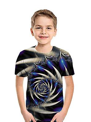 cheap Girls' Dresses-Kids Boys' Active Street chic Geometric 3D Patchwork Print Short Sleeve Tee Rainbow