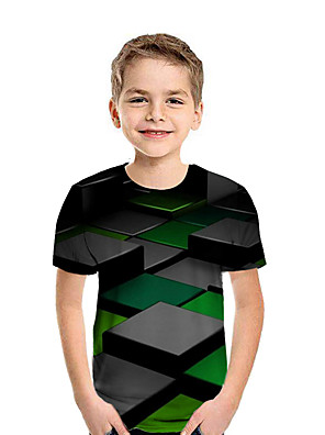 cheap Boys' Tops-Kids Boys' Active Street chic Geometric 3D Patchwork Print Short Sleeve Tee Rainbow