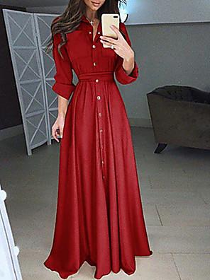cheap Women's Dresses-Women's Maxi Shirt Dress - Long Sleeve Solid Colored Shirt Collar White Black Blue Red Blushing Pink S M L XL XXL XXXL