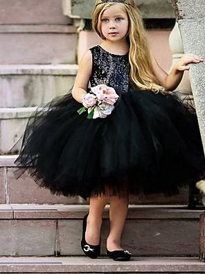 cheap Prom Dresses-Ball Gown Midi Pageant Flower Girl Dresses - Organza Sleeveless Jewel Neck with Paillette