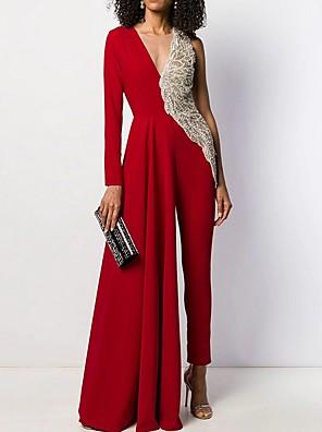 cheap Bridesmaid Dresses-Women's Black White Red Wide Leg Jumpsuit Onesie, Solid Colored S M L
