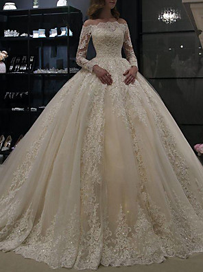 cheap Wedding Dresses-A-Line Wedding Dresses Off Shoulder Court Train Lace Long Sleeve Illusion Sleeve with Crystals 2020