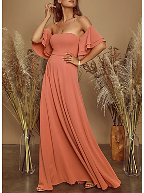 cheap Prom Dresses-A-Line Elegant Prom Formal Evening Dress Off Shoulder Short Sleeve Floor Length Chiffon with Pleats Cascading Ruffles 2020