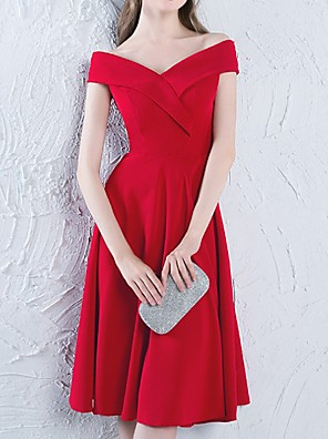 cheap Bridesmaid Dresses-A-Line Off Shoulder Knee Length Polyester Bridesmaid Dress with Pleats