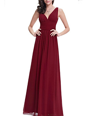 cheap Evening Dresses-A-Line Elegant Formal Evening Dress Plunging Neck Sleeveless Floor Length Chiffon with Pleats 2020