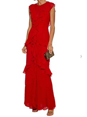 cheap Evening Dresses-Sheath / Column Elegant Engagement Formal Evening Dress Jewel Neck Sleeveless Floor Length Chiffon with Pleats Cascading Ruffles 2020