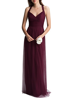 cheap Bridesmaid Dresses-A-Line Halter Neck Floor Length Tulle Bridesmaid Dress with Ruching