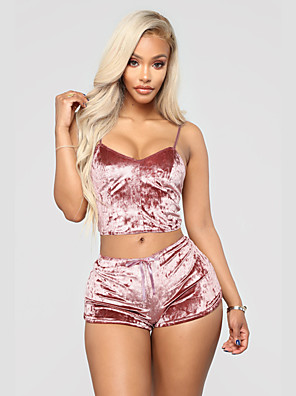 cheap Suits-Women's Backless Super Sexy Matching Bralettes Suits Nightwear Solid Colored Wine / Black / Blushing Pink M L XL / Strap