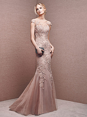 cheap Evening Dresses-Mermaid / Trumpet Sexy Formal Evening Dress Jewel Neck Short Sleeve Floor Length Lace Tulle with Appliques 2020