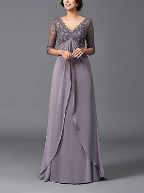 cheap Evening Dresses-A-Line Mother of the Bride Dress Elegant & Luxurious Plunging Neck Floor Length Chiffon Half Sleeve with Lace Ruching 2020
