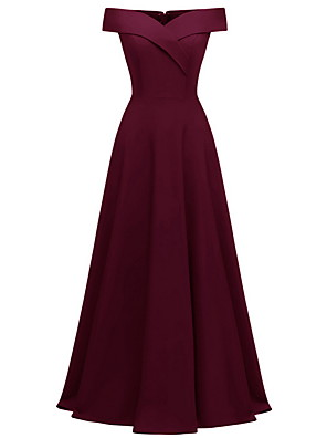 cheap Bridesmaid Dresses-A-Line Off Shoulder Maxi Polyester Bridesmaid Dress with Ruching