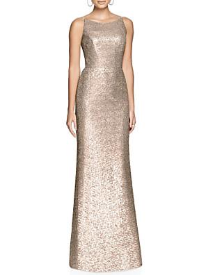 cheap Bridesmaid Dresses-Sheath / Column Sparkle & Shine Formal Evening Dress Jewel Neck Sleeveless Floor Length Sequined with Sequin 2020