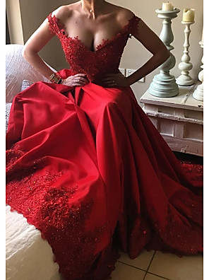 cheap Prom Dresses-A-Line Beautiful Back Red Prom Formal Evening Dress Off Shoulder Short Sleeve Court Train Satin with Beading Sequin Appliques 2020