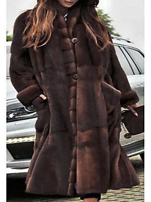 cheap Women's Fur & Faux Fur Coats-Women's Party / Daily Basic Fall & Winter Long Faux Fur Coat, Solid Colored Stand Long Sleeve Faux Fur Brown / Oversized